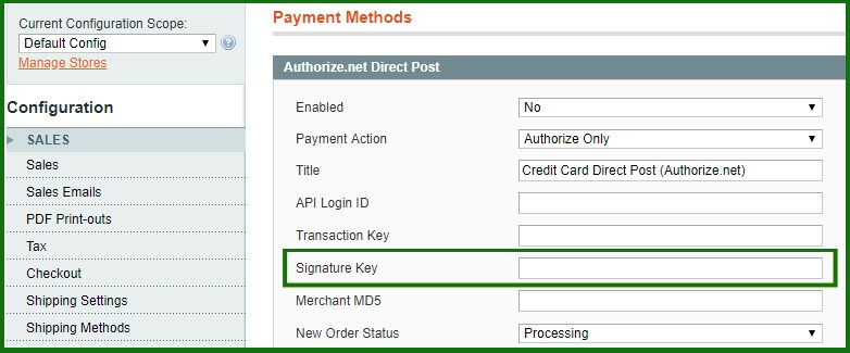 where to enter the key in Magento 1