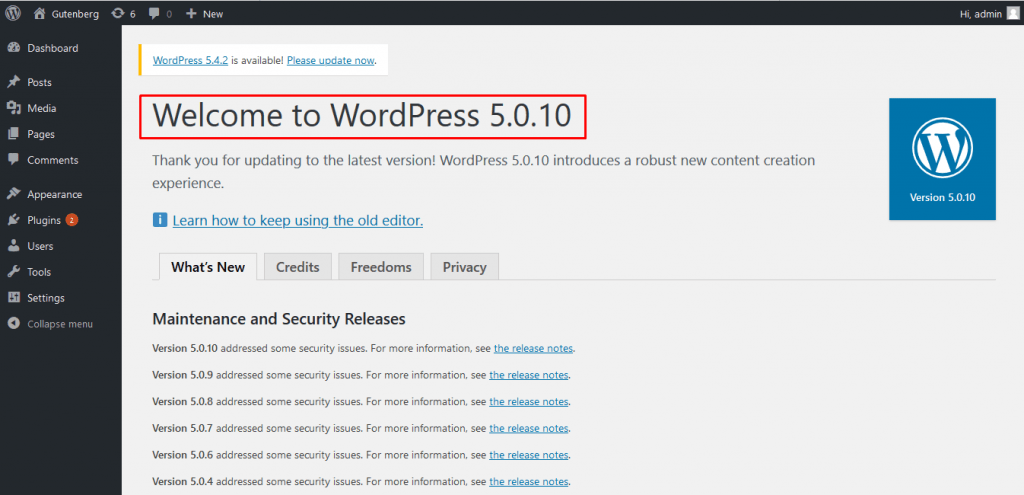 Check your WordPress version